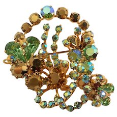 Brilliant Dimensional Rhinestone Brooch Made in Austria