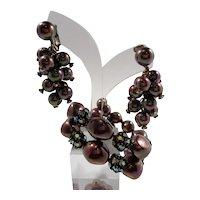 Richelieu Iridescent Purple Imitation Pearl Beaded Rhinestone Wrap Bracelet Dangle Earrings Set