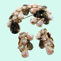Black White Iridescent Glass Stones  Rhinestones Brooch Clip On Earring Set
