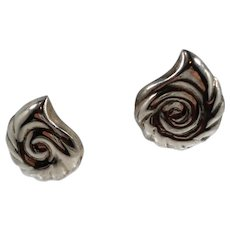 Large Sterling Silver Mexico Abstract Shell Design Clip On Earrings