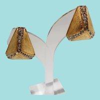 Ciner Goldtone Rhinestone Triangular Pyramid Shaped Clip On Earrings