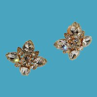 Large Marie Ferra Clear Rhinestone Goldtone Metal Clip On Earrings