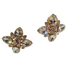 Large Marie Ferra Clear Rhinestone Goldtone Metal Clip On Earrings
