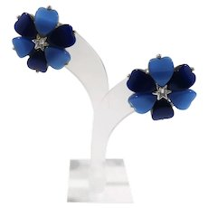 Heart Shaped Blue Thermoset Plastic Clip On Earrings