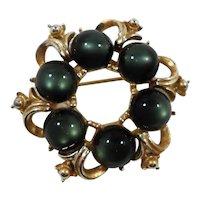 Dimensional Round Moonglow Lucite Goldtone Metal Brooch