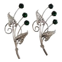 Large Green Rhinestones Floral Spray Gold Filled Pair Scatter Pins