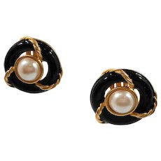 Anne Klein Large Dimensional Black Goldtone Imitation Pearl Clip On Earrings