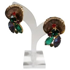 Large Dimensional Goldtone Rhinestone Fruit Salad Stones Clip On Earrings