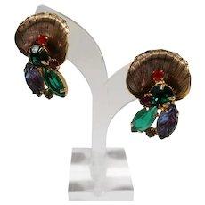 Large Dimensional Goldtone Rhinestone Fruit Salad Stones Clip On Earrings