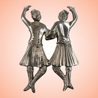 Scottish Dancers Textured Pewter  Brooch Ocean Art  Nova Scotia Canada