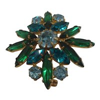 Austria Green Blue Marquise Rhinestones Goldtone Pin