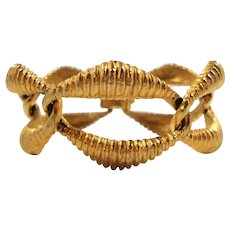 Coro Pegasus Dimensional Chunky Textured Bold Goldtone Metal Bracelet