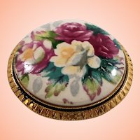 Shabby Chic Pink White Roses Flowers Goldtone Metal Pin