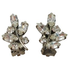 Dainty Clear Marquise Rhinestones  Leaf Shaped Clip On Earrings