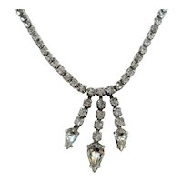 Kramer Rhinestone Prom Choker Necklace Dangle Pear Shaped Rhinestone Drops