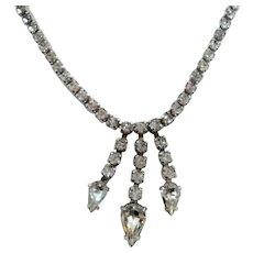 Kramer Rhinestone Prom Choker Necklace Dangle Pear Shaped Rhinestone Drops