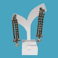 Rhinestone Drippy Dangle Shoulder Duster Clip On Earrings