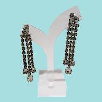 Rhinestone Drippy Dangle Shoulder Duster Clip On Earrings