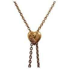 Victorian Ornate Dimensional Heart Slider Watch Fob Chain