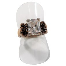 Heavy Sterling Silver Rectangular Faceted CZ Stone Ring Size 7
