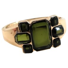 Geometric Design Olive Green Faceted Unfoiled Glass Hinged Bangle Bracelet