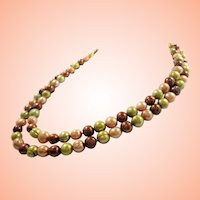 Long Strand Green Copper Creme  Colored Glass Imitation Pearls Necklace