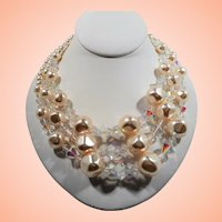 Large Triple Strand Champagne Imitation Pearls Crystal Beaded Necklace
