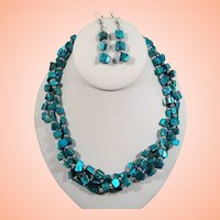 Triple Strand Teal Blue Green Dyed Mother of Pearl Beaded Necklace Dangle Pierced Earring Set