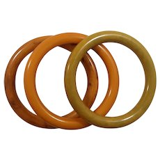 Set of Three Matched Marbled Bakelite Bangles