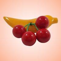 Shultz Bakelite Dangle Cherries Banana Brooch
