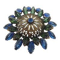 Large Dimensional Green Blue Unfoiled Glass Stones Goldtone Brooch