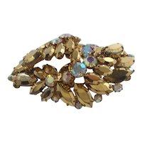 Metallic Coppertone Aurora Rhinestone Layered Dimensional Brooch