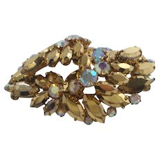 Metallic Coppertone Aurora Rhinestone Layered Dimensional Brooch
