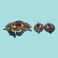Large Aurora Rhinestones Givre Glass Center Stone Brooch Earring Set