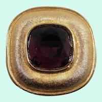 Large Weiss Square Shaped Amethyst Purple Rhinestone Goldtone Pendant Brooch