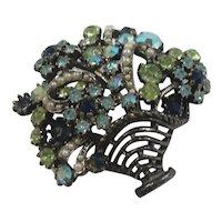 ART Colorful Rhinestone Flower Basket Brooch