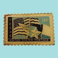 Goldtone Enameled Texas Postage Stamp Tac Pin