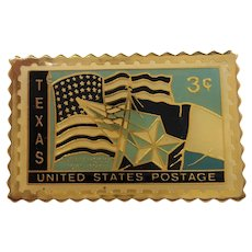 Goldtone Enameled Texas Postage Stamp Tac Pin
