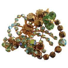 Spring Green  Dimensional Aurora Rhinestone Floral Bouquet Brooch Made in Austria