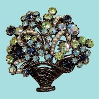 ART Spring Dimensional  Rhinestone Imitation Pearls Flower Basket Brooch