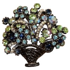 ART Spring Dimensional  Rhinestone Imitation Pearls Flower Basket Brooch