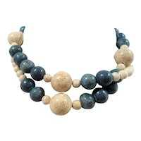 Blue Creme Genuine Stone Beaded Single Strand Necklace
