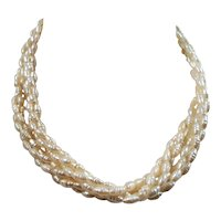 Braided Triple Strand Genuine Fresh Water Rice Shaped Pearls Necklace