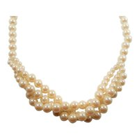 Imitation Pearl Single Strand Necklace Triple Strand Drop