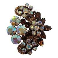 Verified Deliza &  Elster Juliana Rootbeer Aurora Rhinestone Floral Brooch