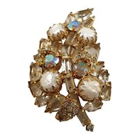Goldtone Leaf Brooch Imitation Pearls Unfoiled Marquise Baguette Stones