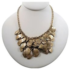 Layered Textured Dangle Goldtone Metal Leaves Necklace