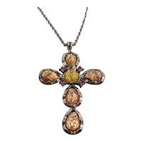 Pastel Opalescent Glass Cabochon Cross Pendant Necklace