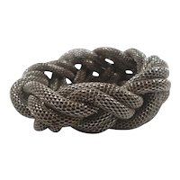 Bold Silvertone Metal Braided Mesh Rope Slide On Statement Bracelet