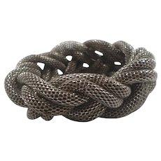 Bold Silvertone Metal Braided Mesh Rope Slide On Statement Bracelet